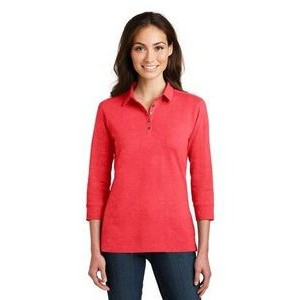 Port Authority® Ladies' 3/4-Sleeve Meridian Cotton Blend Polo Shirt