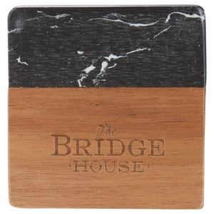 Black Marble and Wood Coaster Set