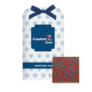 Belgian Chocolate Bar Stocking Stuffer w/ Corporate Color Nonpareil Sprinkles