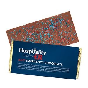 Foil Wrapped Belgian Chocolate Bar w/ Corporate Color Nonpareil Sprinkles
