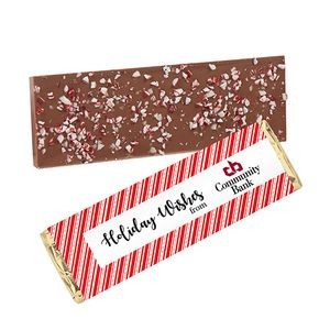 Foil Wrapped Belgian Chocolate Bar w/ Peppermint Topping