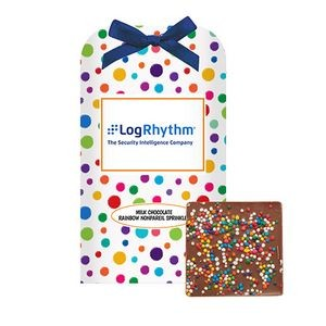 Belgian Chocolate Bar Stocking Stuffer w/ Rainbow Nonpareil Sprinkles