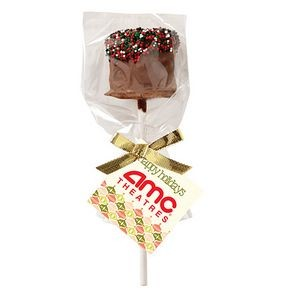 Chocolate Covered Marshmallow Pop w/ Christmas Nonpareil Sprinkles