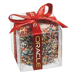 Chocolate Covered Oreo® Present w/ Custom Oreo® Cookies and Rainbow Nonpareils