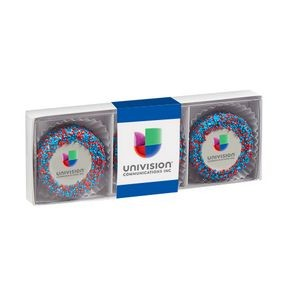 Belgian Chocolate Custom Oreo® Gift Box - Corporate Color Nonpareil Sprinkles
