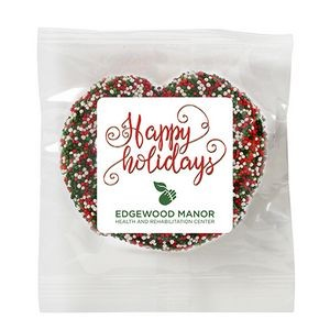 Milk Chocolate Covered Pretzel - Holiday Nonpareil Sprinkles