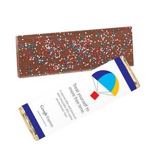 Foil Wrapped 2.25 Oz. Belgian Chocolate Bar w/ Rainbow Nonpareil Sprinkles