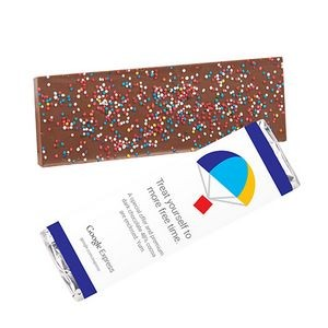 Foil Wrapped Belgian Chocolate Bar w/ Rainbow Nonpareil Sprinkles