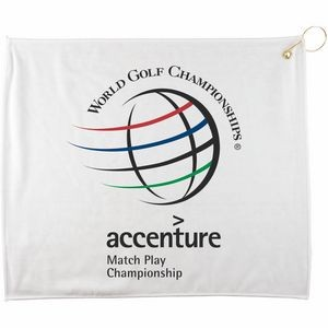 "15"" x 18"" Polyester Blend White Golf Towel"