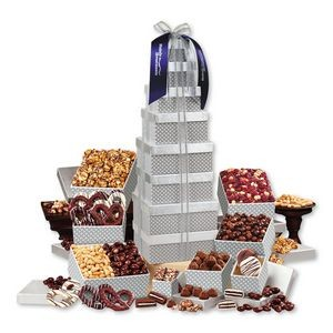 Shimmering Silver Delights Giant Party Tower